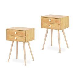 Topbuy Set of 2 Side End Table Nightstand 2 Drawers Bedroom Room Furniture   Walmart (US)
