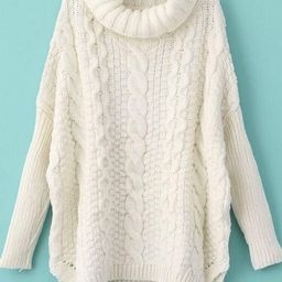 Turtleneck Chunky Cable Knit Sweater | SHEIN