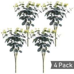 4 Pcs Artificial Silver Dollar Eucalyptus Leaf Branches, Fake Greenery Foliage Plants with Total ... | Walmart (US)