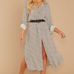 Newest Obsession Ivory And Grey Leopard Print Dress | Red Dress