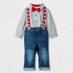 Baby Boys' Valentine's Day Denim Suspender Set - Cat & Jack™ Gray/Blue | Target