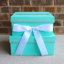 Robins Egg Blue Card Box Centerpiece (Mid-Size), Turquoise 2 Tier Shower or Birthday Card Holder   Etsy (US)