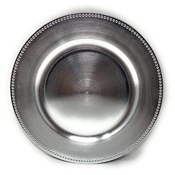 FANTASTIC :)  Round 13 Inch Plastic Charger Plates with Metallic Finish (6, Beaded Silver)   Amazon (US)
