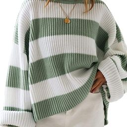 ZESICA Women's Long Sleeve Crew Neck Striped Color Block Comfy Loose Oversized Knitted Pullover S... | Amazon (US)