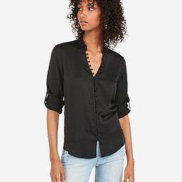 original fit satin ruffle collar portofino shirt | Express