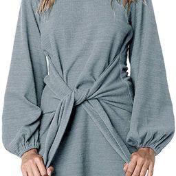 Women's Autumn Winter Cotton Long Sleeves Elegant Knitted Bodycon Tie Waist Sweater Pencil Dress | Amazon (US)
