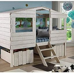 Donco Kids Tree House Low Loft Bed, Twin, Rustic Sand   Amazon (US)
