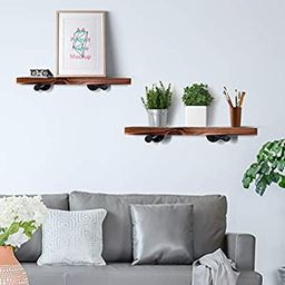 Y&ME Wall Mounted Floating Shelves with Industrial Pipe Brackets, Set of 2 Solid Pine Wood Pipe S...   Amazon (US)