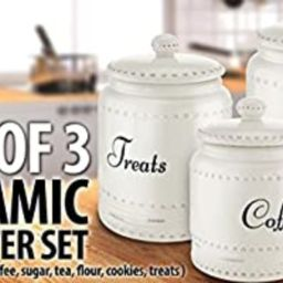 KOVOT 3 Piece Ceramic Canister Set With Air-Sealed Lids & Bonus Decal Labeling Stickers - White W...   Amazon (US)