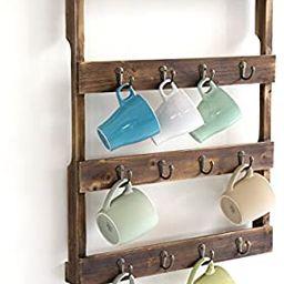 Wall Mounted 12 Hook Torched Wood Coffee Mug Cup Holder Display Rack   Amazon (US)