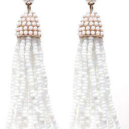 Women's Beaded tassel earrings Long Fringe Drop Earrings Dangle 6 Colors | Amazon (US)