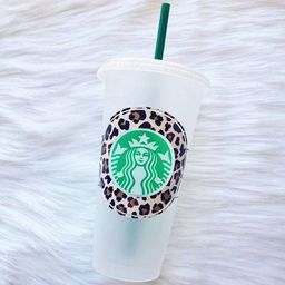 BLANK Leopard Starbucks Venti Cold Cup, No Personalization Around Logo | Etsy (US)