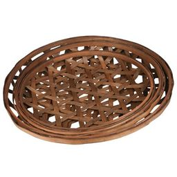 Round Tobacco Basket with Octagon Pattern 3 Piece Design Manufactured Wood Basket Set | Wayfair North America