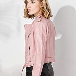 Women's Faux Leather Textured Short Moto Jacket Zip-up Slim PU Biker Coat with Pockets | Amazon (US)