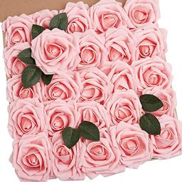 N&T NIETING Artificial Flowers Roses, 25pcs 3.74in Large Size Real Touch Artificial Foam Roses wi... | Amazon (US)