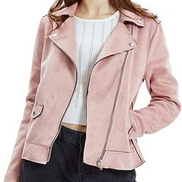 Women's Suede Jacket, Moto Biker Coat Faux Leather Casual Zip Up Soft Long Sleeve Outwear | Amazon (US)