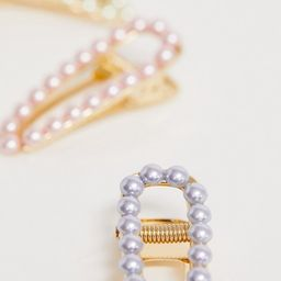 ASOS DESIGN pack of 3 hair clips with pastel pearls in gold tone | ASOS US