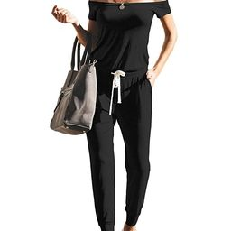 ANRABESS Women's Jumpsuits Sexy Off Shoulder Short Sleeve Elastic Waist Beam Foot Summer Casual R...   Amazon (US)
