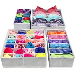 Sorbus Set of 4 Foldable Drawer Dividers, Storage Boxes, Closet Organizers, Under Bed Organizer (... | Amazon (US)