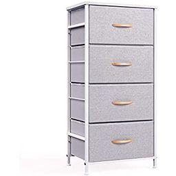 mDesign Vertical Dresser Storage Tower - Sturdy Steel Frame, Wood Top, Easy Pull Fabric Bins - Or... | Amazon (US)
