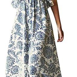 Women Summer Blue and White Porcelain Strapless Boho Maxi Long Dress | Amazon (US)