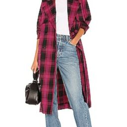 GRLFRND Taylor Midi Trench Coat in Black & Pink Plaid from Revolve.com   Revolve Clothing (Global)