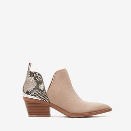 side slit metal heel snakeskin booties | Express