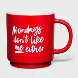 16oz Stoneware Monday's Don't Like Me Either Mug Red - Threshold™ | Target