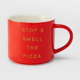16oz Porcelain Stop and Smell the Pizza Mug Red - Threshold™   Target