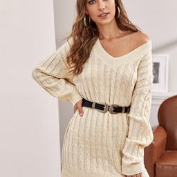 Drop Shoulder Cable Knit Sweater Dress Without Belt   SHEIN