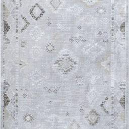 Silver Faded Tribal Fringe Area Rug | Rugs USA