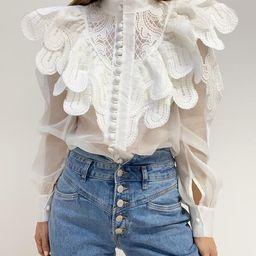 Orchid Lace Buttoned Blouse | White | Vita Grace