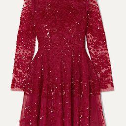 Aurora ruffled sequined tulle mini dress   Net-a-Porter (US)