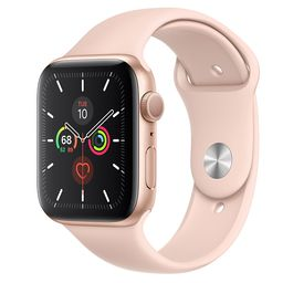 AppleWatch Series5 GPS, 44mm Gold Aluminum Case with Pink Sand Sport Band - S/M & M/L | Apple (US)