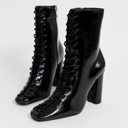 Glamorous black patent lace up ankle boots | ASOS US