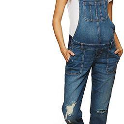Women's Maternity Indigo Blue Side Panel Skinny Ankle Length Denim Overalls | Amazon (US)