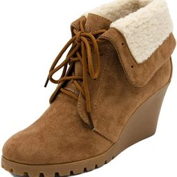 Womens New Rendon Lace-Up Boot Wedge Ankle Bootie with Fold Over Sherpa Fur Collar | Amazon (US)