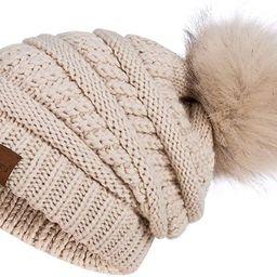 Womens Winter Slouchy Beanie Hat, Knit Warm Fleece Lined Thick Thermal Soft Ski Cap with Pom Pom | Amazon (US)