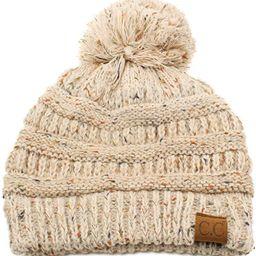 Confetti Ombre Big Pom Pom Warm Chunky Soft Stretch Knit Beanie Hat | Amazon (US)