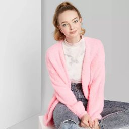 Women's Long Sleeve Open Front  Fuzzy Cardigan - Wild Fable™ Pink | Target