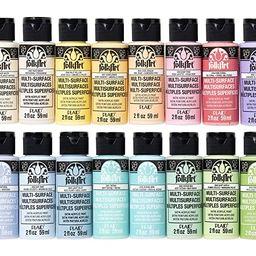 FolkArt Multi Surface Acrylic Paint Set 16 Piece PROMOMSP16 Pastel Colors | Amazon (US)
