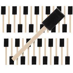 US Art Supply 1 inch Foam Sponge Wood Handle Paint Brush Set (Value Pack of 25) - Lightweight, du... | Amazon (US)