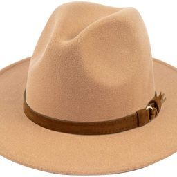 Womens Classic Wide Brim Floppy Panama Hat Belt Buckle Wool Fedora Hat | Amazon (US)