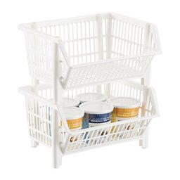 Our White Mini Stackable Basket   The Container Store