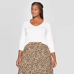 Women's Plus Size Long Sleeve V-Neck T-Shirt - Ava & Viv™   Target