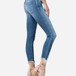 flying monkey mid rise raw hem crop skinny jeans | Express