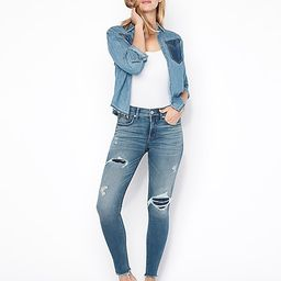 mid rise denim perfect ripped ankle leggings | Express