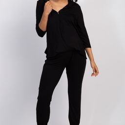 Black Hooded Maternity Jumpsuit | PinkBlush Maternity