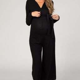 Black Ribbed Knit Long Sleeve Wide Leg Maternity Jumpsuit | PinkBlush Maternity