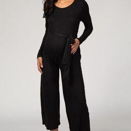 Black Long Sleeve Waist Tie Maternity Jumpsuit | PinkBlush Maternity